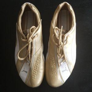 Puma Ducati metallic gold white shoes